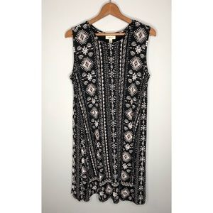 New Style & Co black printed casual swing dress 1X